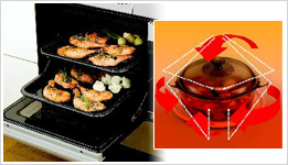 ガスオーブンと電子レンジとの併用で、効率よく、ムラなく調理